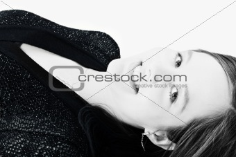 Beautiful model lying on the studio floor