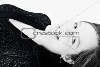 Beautiful model lying on the studio floor
