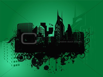 vector of urban  city on green background
