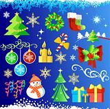 Big set elements for Christmas design & background / vector /