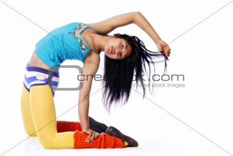 Asian model in a gymnastic pose