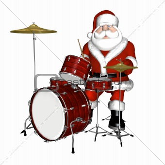 Santa Playing Drums 1