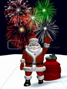 Santa Waving with Christmas Fireworks