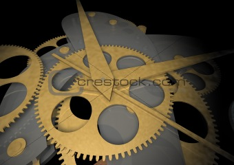 clockwork on black background