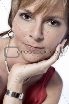 beauty adult woman looking pensive