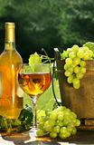 White wine with bottle and grapes