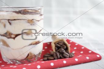 tiramisu with coffee beans