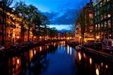 Amsterdam channels at night