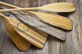 wooden canoe paddles