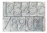 numbers in vintage metal type