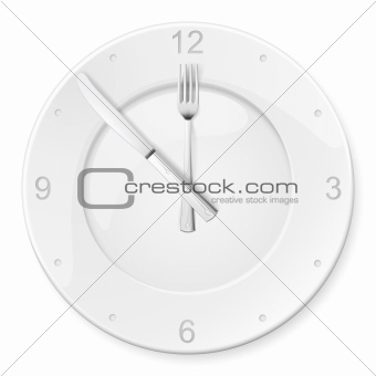 Clock of the plates and forks, spoons