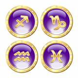 Set of the Golden Zodiac Signs