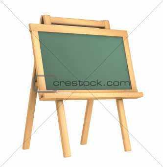 Empty green wooden chalkboard on white background