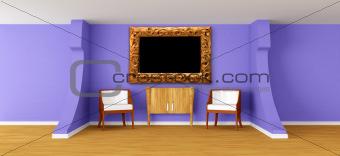 Modern room with luxurious armchairs and bureau