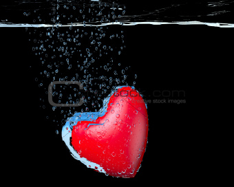 heart dropped into water
