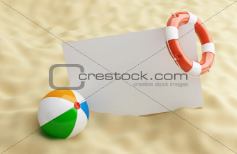 lifebelt blanck on a beach