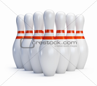 Skittles bowling on a white background