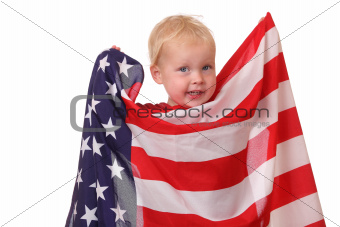 Child with USA flag