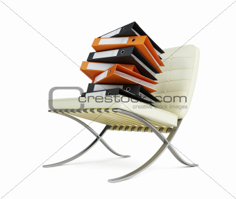 modern chair and folders