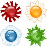 Vector Weather Glassy Icons Set