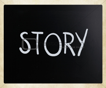 """Story"" handwritten with white chalk on a blackboard"