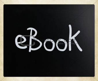 """E-book"" handwritten with white chalk on a blackboard"