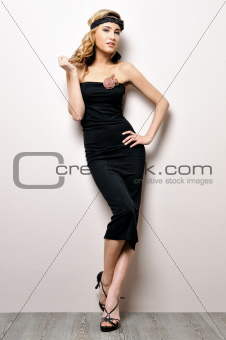 beautiful woman in a black dress
