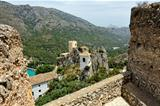 Guadalest in Spain. Top view of the castle and the mountains.