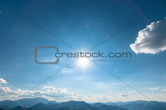 Blue sky with sun