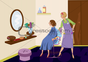 Beauty salon brunet looking in the mirror after hair cut