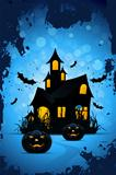 Halloween Background with Pumpkins and Haunted House