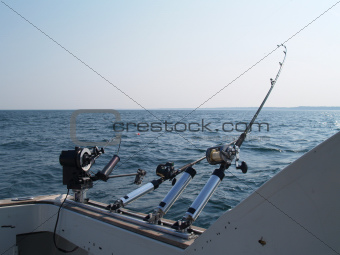 Three Fishing Poles Set Up For Trolling in Lake Michigan