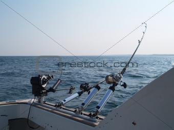 Three Fishing Poles Set Up For Trolling in Lake Michigan