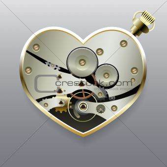 Metal steampunk heart with gears