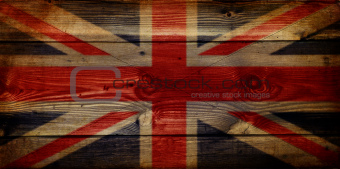 GB Union Jack Flag on grunge wooden background