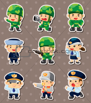 cartoon police and soldier stickers