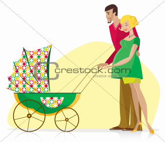 Happy Couple with Baby Stroller