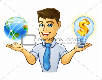 Man having control over planet earth and light bulb