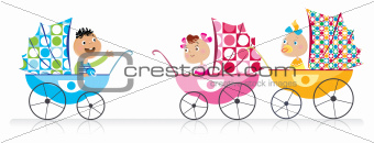 Cute Babies in baby strollers