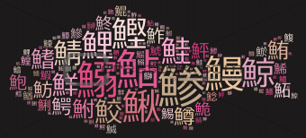 Japanese fishes names  on fish shape (pink)
