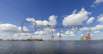 harbor cranes with ship