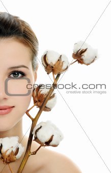 beautiful face with cotton