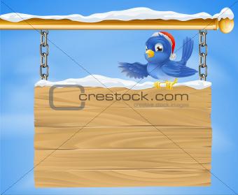Santa hat bluebird snowy sign