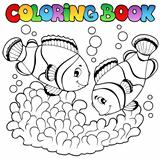 Coloring book two cute clown fishes