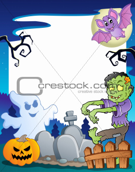 Frame with Halloween topic 7