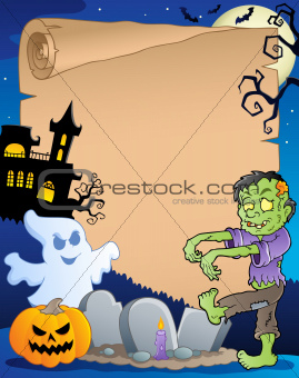 Scene with Halloween parchment 3