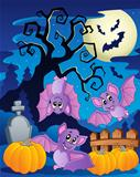 Scene with Halloween tree 5