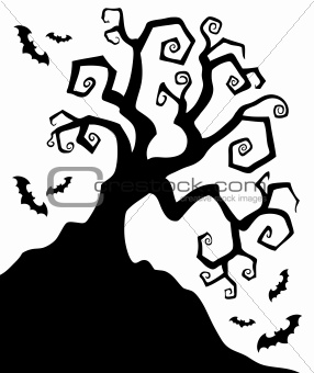 Spooky silhouette of Halloween tree