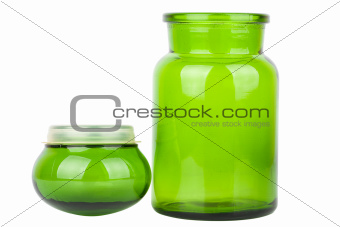 Green glass chemical bottle