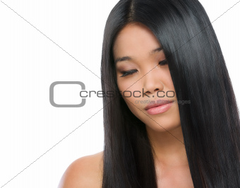 Beauty portrait of asian brunette girl smooth long straight hair isolated on white